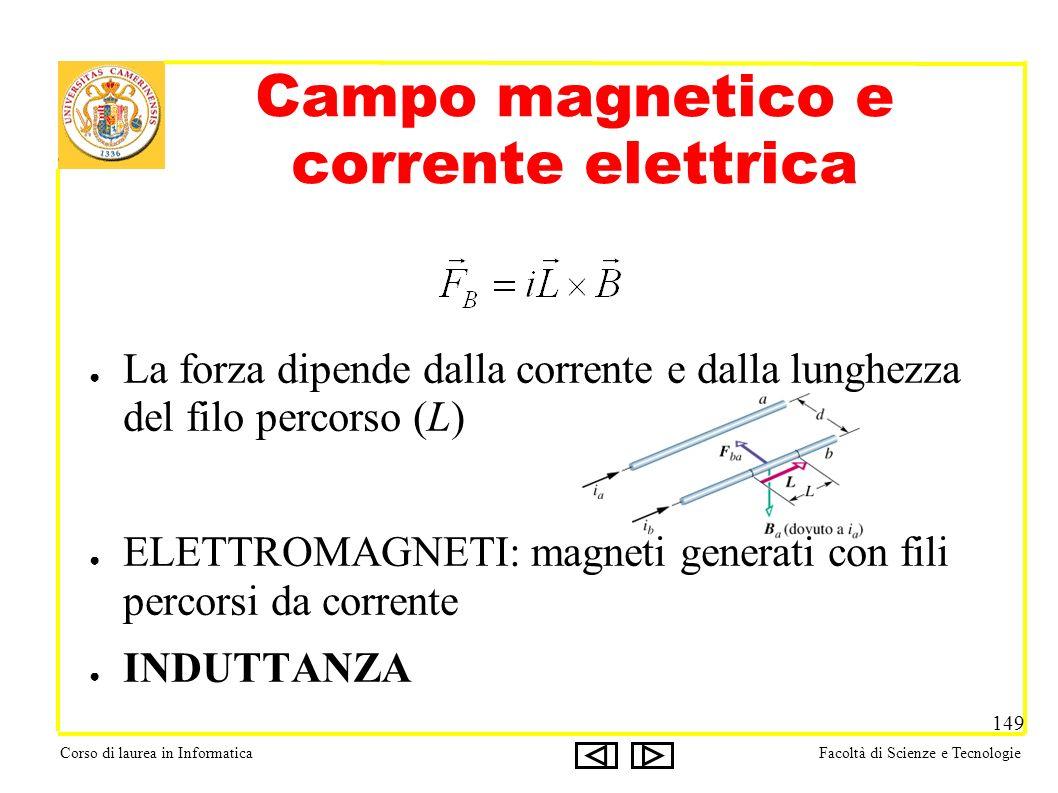 Corso di laurea in InformaticaFacoltà di Scienze e Tecnologie 149 La forza dipende dalla corrente e dalla lunghezza del filo percorso (L) ELETTROMAGNETI: magneti generati con fili percorsi da corrente INDUTTANZA Campo magnetico e corrente elettrica