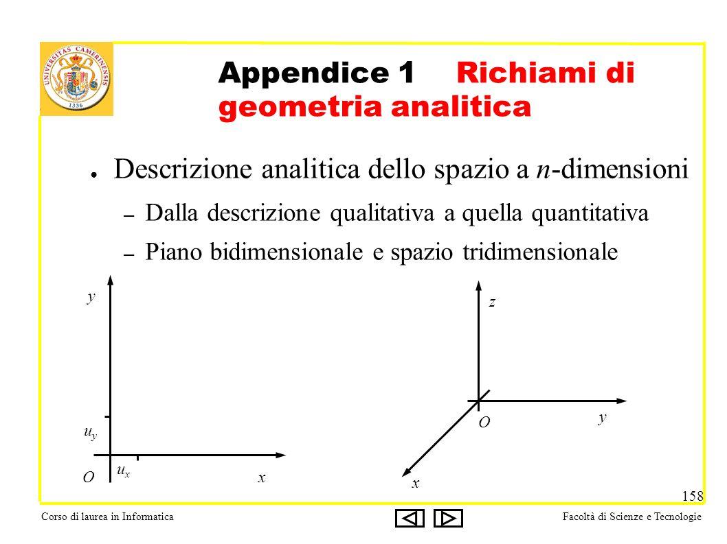 Corso di laurea in InformaticaFacoltà di Scienze e Tecnologie 158 Appendice 1 Richiami di geometria analitica Descrizione analitica dello spazio a n-d