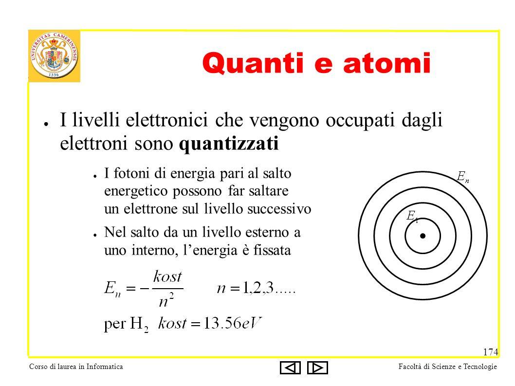 Corso di laurea in InformaticaFacoltà di Scienze e Tecnologie 174 Quanti e atomi I livelli elettronici che vengono occupati dagli elettroni sono quantizzati I fotoni di energia pari al salto energetico possono far saltare un elettrone sul livello successivo Nel salto da un livello esterno a uno interno, lenergia è fissata