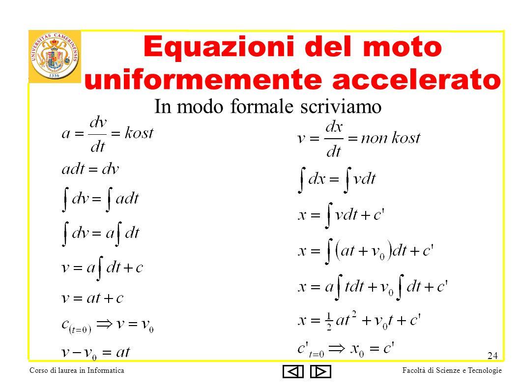 Corso di laurea in InformaticaFacoltà di Scienze e Tecnologie 24 Equazioni del moto uniformemente accelerato In modo formale scriviamo