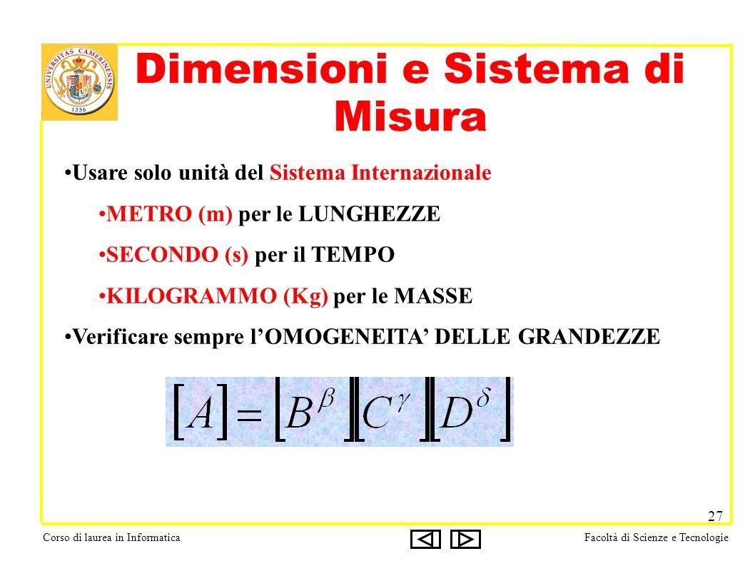 Corso di laurea in InformaticaFacoltà di Scienze e Tecnologie 27 Dimensioni e Sistema di Misura Usare solo unità del Sistema Internazionale METRO (m) per le LUNGHEZZE SECONDO (s) per il TEMPO KILOGRAMMO (Kg) per le MASSE Verificare sempre lOMOGENEITA DELLE GRANDEZZE