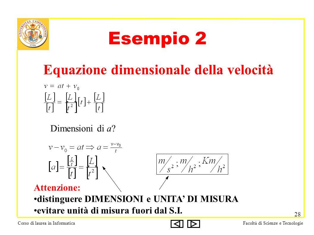 Corso di laurea in InformaticaFacoltà di Scienze e Tecnologie 28 Esempio 2 Equazione dimensionale della velocità Dimensioni di a.