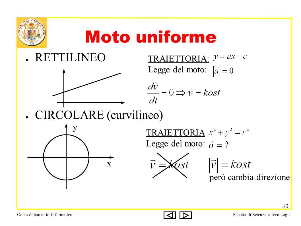 Corso di laurea in InformaticaFacoltà di Scienze e Tecnologie 30 Moto uniforme RETTILINEO CIRCOLARE (curvilineo) TRAIETTORIA: Legge del moto: x y TRAIETTORIA Legge del moto: però cambia direzione