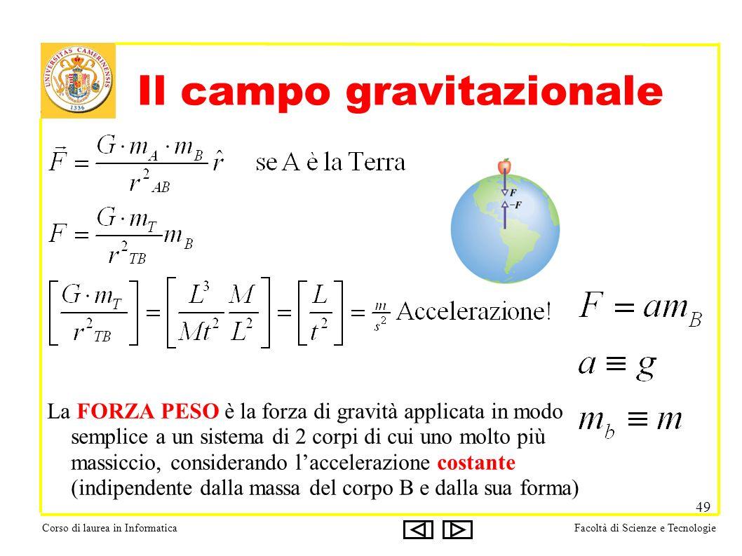 Corso di laurea in InformaticaFacoltà di Scienze e Tecnologie 49 Il campo gravitazionale La FORZA PESO è la forza di gravità applicata in modo semplic