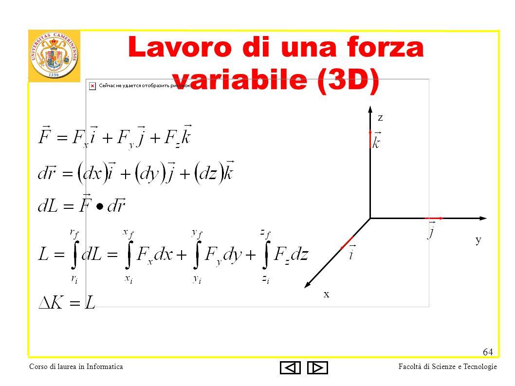 Corso di laurea in InformaticaFacoltà di Scienze e Tecnologie 64 Lavoro di una forza variabile (3D) x y z