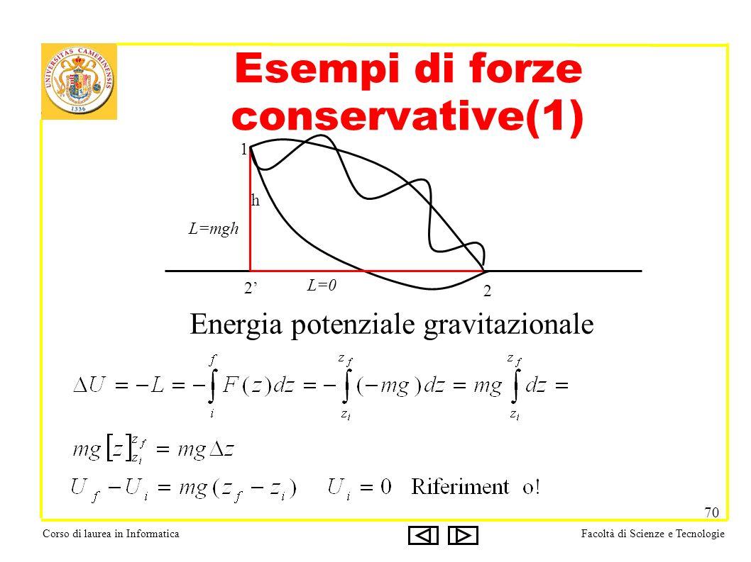 Corso di laurea in InformaticaFacoltà di Scienze e Tecnologie 70 Energia potenziale gravitazionale Esempi di forze conservative(1) 1 2 2 h L=0 L=mgh