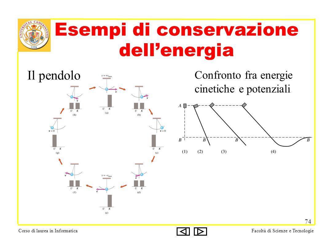 Corso di laurea in InformaticaFacoltà di Scienze e Tecnologie 74 Esempi di conservazione dellenergia Il pendolo Confronto fra energie cinetiche e pote