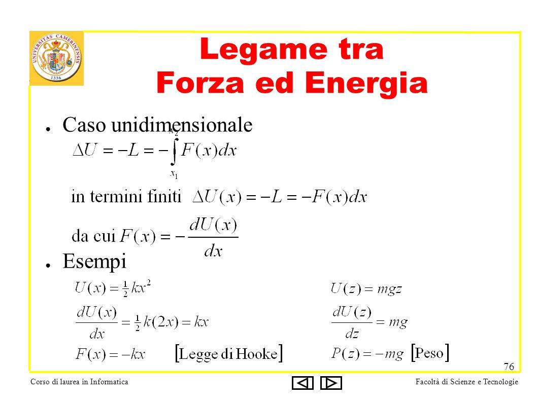 Corso di laurea in InformaticaFacoltà di Scienze e Tecnologie 76 Legame tra Forza ed Energia Caso unidimensionale Esempi