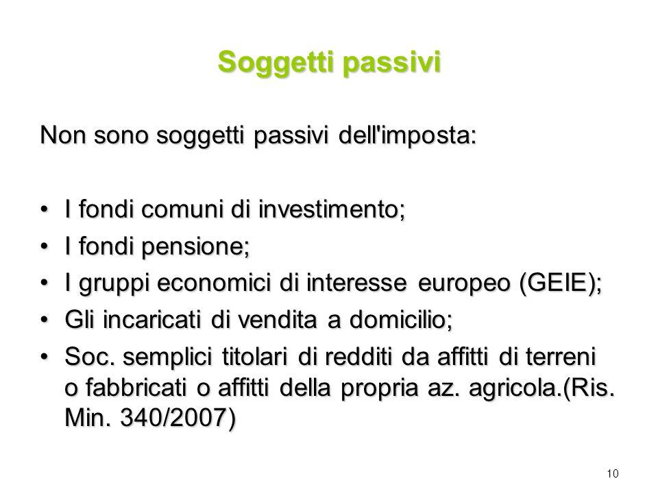 10 Soggetti passivi Non sono soggetti passivi dell'imposta: I fondi comuni di investimento;I fondi comuni di investimento; I fondi pensione;I fondi pe