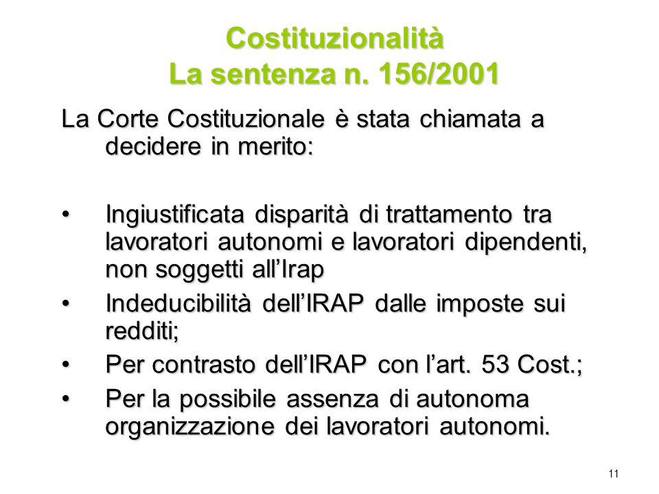 11 Costituzionalità La sentenza n. 156/2001 La Corte Costituzionale è stata chiamata a decidere in merito: Ingiustificata disparità di trattamento tra