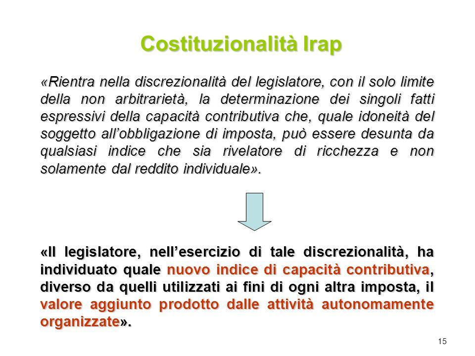 15 «Rientra nella discrezionalità del legislatore, con il solo limite della non arbitrarietà, la determinazione dei singoli fatti espressivi della cap