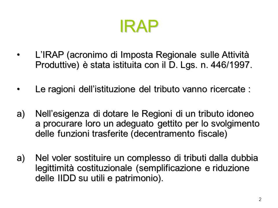 2 IRAP LIRAP (acronimo di Imposta Regionale sulle Attività Produttive) è stata istituita con il D. Lgs. n. 446/1997.LIRAP (acronimo di Imposta Regiona