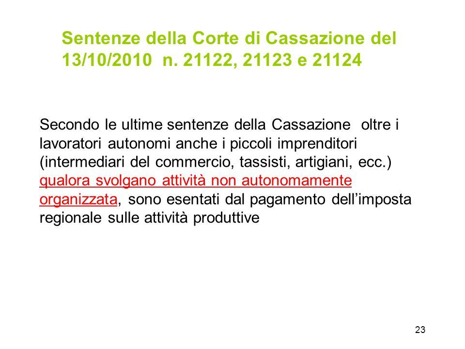 23 Secondo le ultime sentenze della Cassazione oltre i lavoratori autonomi anche i piccoli imprenditori (intermediari del commercio, tassisti, artigia