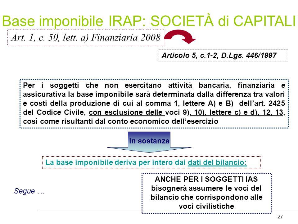 27 Art. 1, c. 50, lett. a) Finanziaria 2008 Per i soggetti che non esercitano attività bancaria, finanziaria e assicurativa la base imponibile sarà de