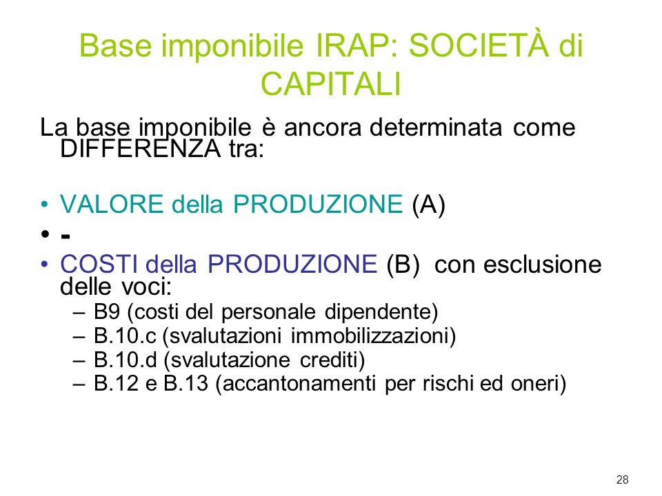 La base imponibile è ancora determinata come DIFFERENZA tra: VALORE della PRODUZIONE (A) - COSTI della PRODUZIONE (B) con esclusione delle voci: –B9 (