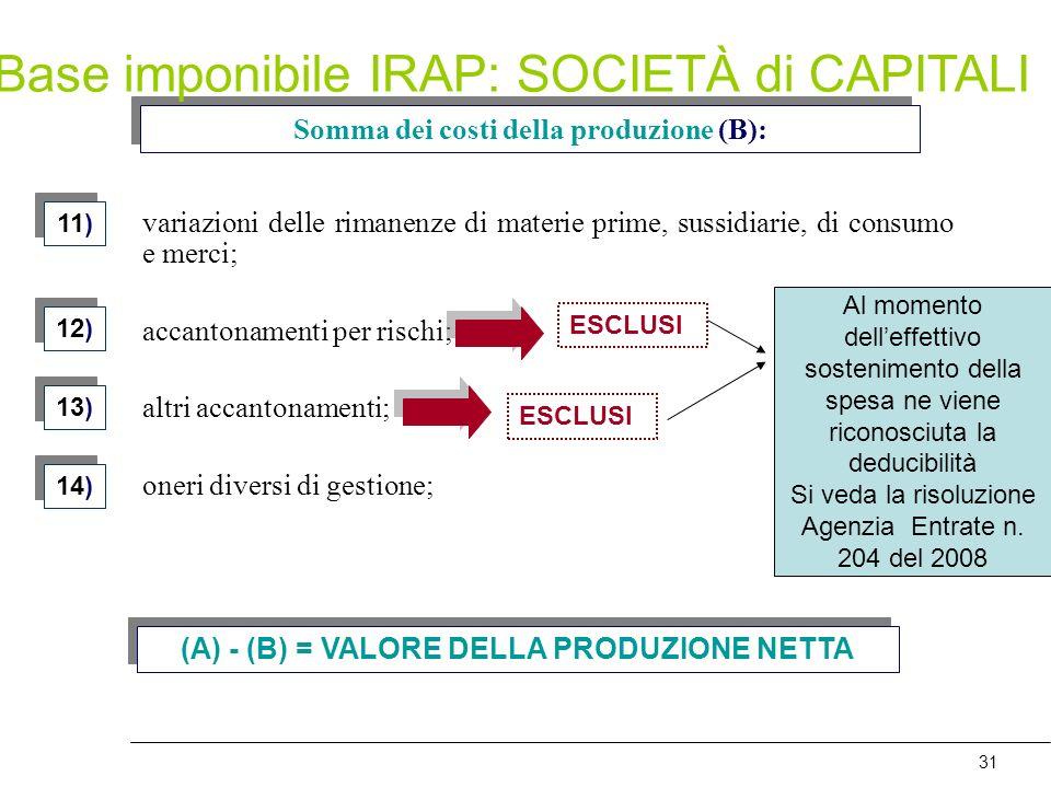 31 Somma dei costi della produzione (B): 12) 13) 14) variazioni delle rimanenze di materie prime, sussidiarie, di consumo e merci; accantonamenti per