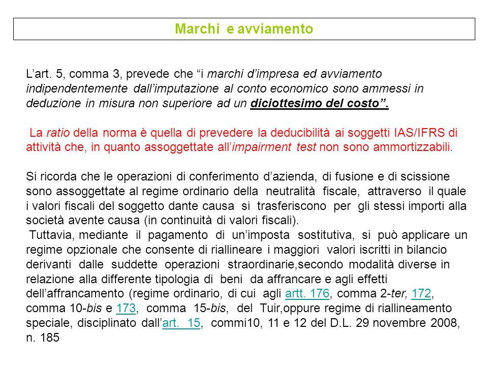 Marchi e avviamento Lart. 5, comma 3, prevede che i marchi dimpresa ed avviamento indipendentemente dallimputazione al conto economico sono ammessi in
