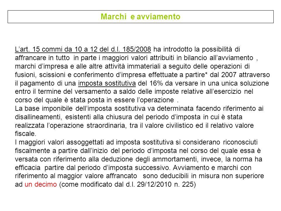 Marchi e avviamento Lart. 15 commi da 10 a 12 del d.l. 185/2008 ha introdotto la possibilità di affrancare in tutto in parte i maggiori valori attribu