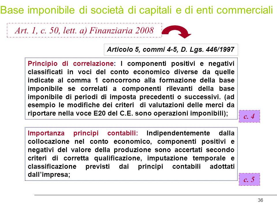 36 Articolo 5, commi 4-5, D. Lgs. 446/1997 Principio di correlazione: I componenti positivi e negativi classificati in voci del conto economico divers