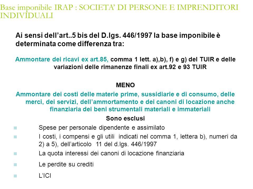 Ai sensi dellart..5 bis del D.lgs. 446/1997 la base imponibile è determinata come differenza tra: Ammontare dei ricavi ex art.85, comma 1 lett. a),b),