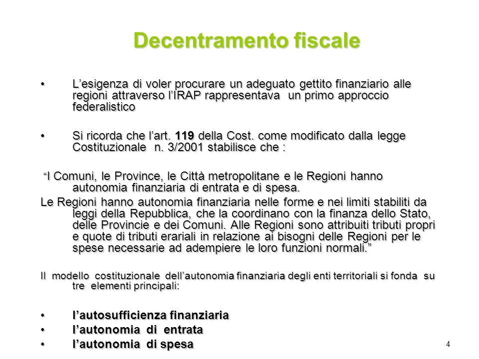 4 Decentramento fiscale Lesigenza di voler procurare un adeguato gettito finanziario alle regioni attraverso lIRAP rappresentava un primo approccio fe