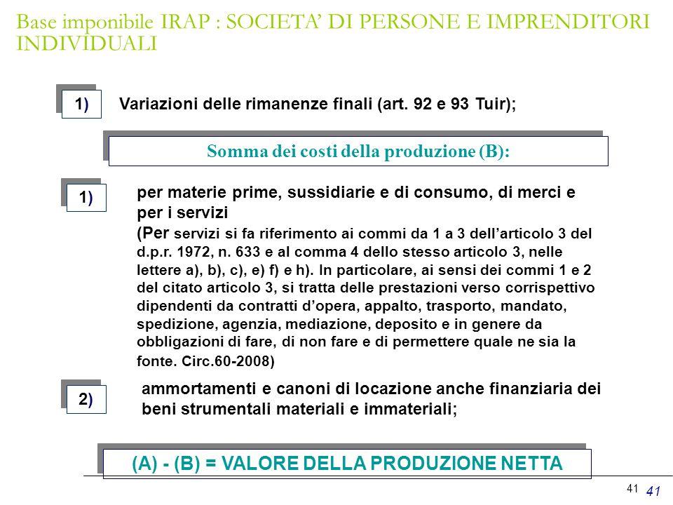 41 Variazioni delle rimanenze finali (art. 92 e 93 Tuir); 1)1) 1)1) Somma dei costi della produzione (B): 1)1) 1)1) 2)2) 2)2) per materie prime, sussi