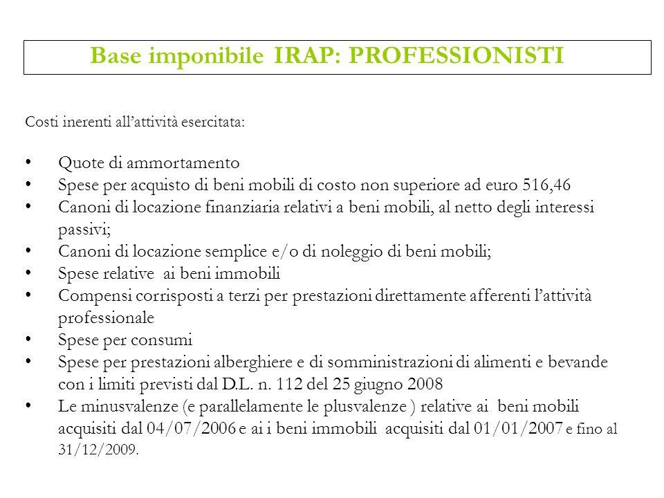 Costi inerenti allattività esercitata: Quote di ammortamento Spese per acquisto di beni mobili di costo non superiore ad euro 516,46 Canoni di locazio