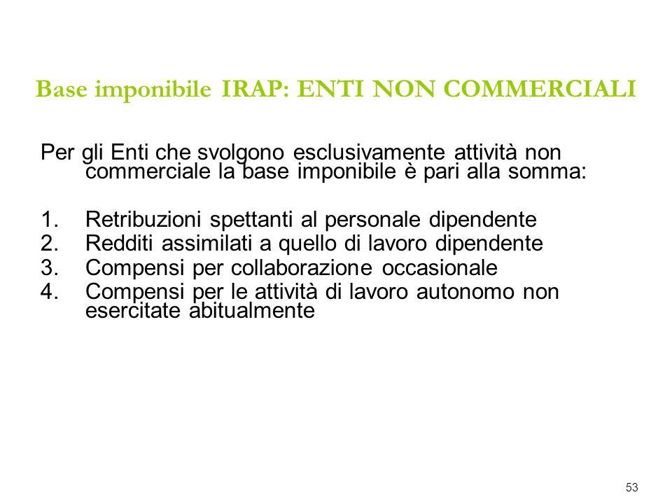 Base imponibile IRAP: ENTI NON COMMERCIALI Per gli Enti che svolgono esclusivamente attività non commerciale la base imponibile è pari alla somma: 1.R