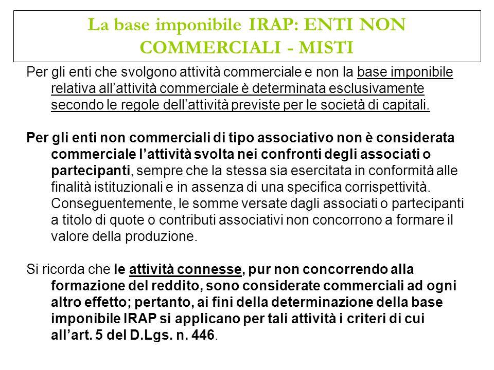 Per gli enti che svolgono attività commerciale e non la base imponibile relativa allattività commerciale è determinata esclusivamente secondo le regol