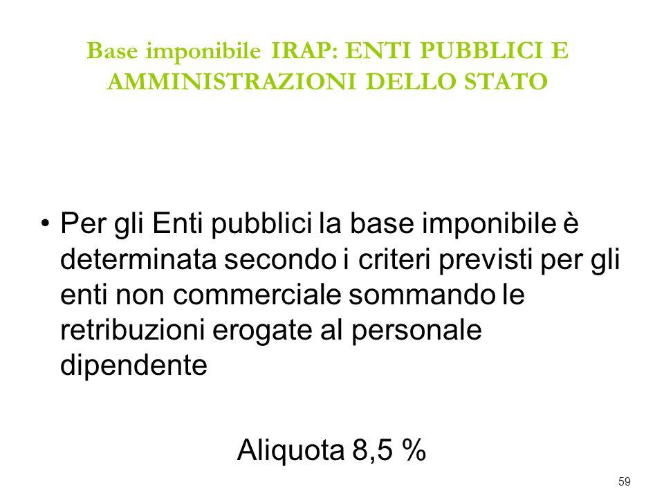 Base imponibile IRAP: ENTI PUBBLICI E AMMINISTRAZIONI DELLO STATO Per gli Enti pubblici la base imponibile è determinata secondo i criteri previsti pe