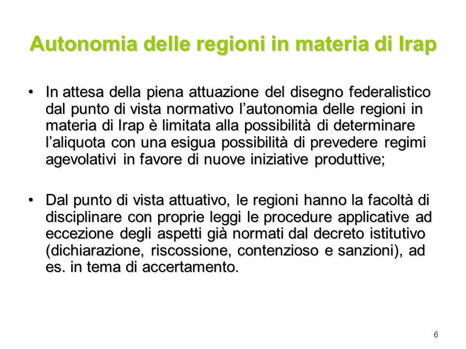 6 Autonomia delle regioni in materia di Irap In attesa della piena attuazione del disegno federalistico dal punto di vista normativo lautonomia delle
