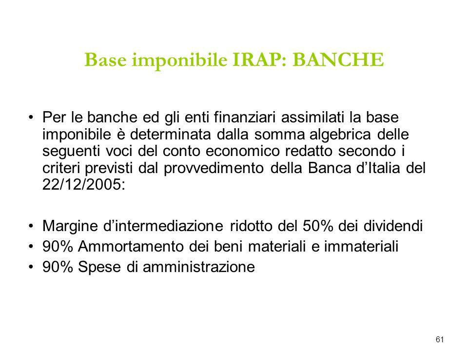 Base imponibile IRAP: BANCHE Per le banche ed gli enti finanziari assimilati la base imponibile è determinata dalla somma algebrica delle seguenti voc