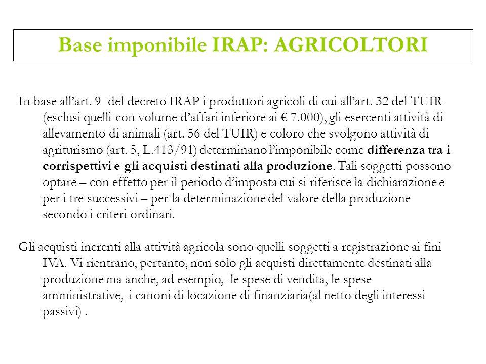 In base allart. 9 del decreto IRAP i produttori agricoli di cui allart. 32 del TUIR (esclusi quelli con volume daffari inferiore ai 7.000), gli eserce