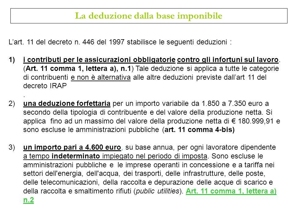 Lart. 11 del decreto n. 446 del 1997 stabilisce le seguenti deduzioni : 1)i contributi per le assicurazioni obbligatorie contro gli infortuni sul lavo