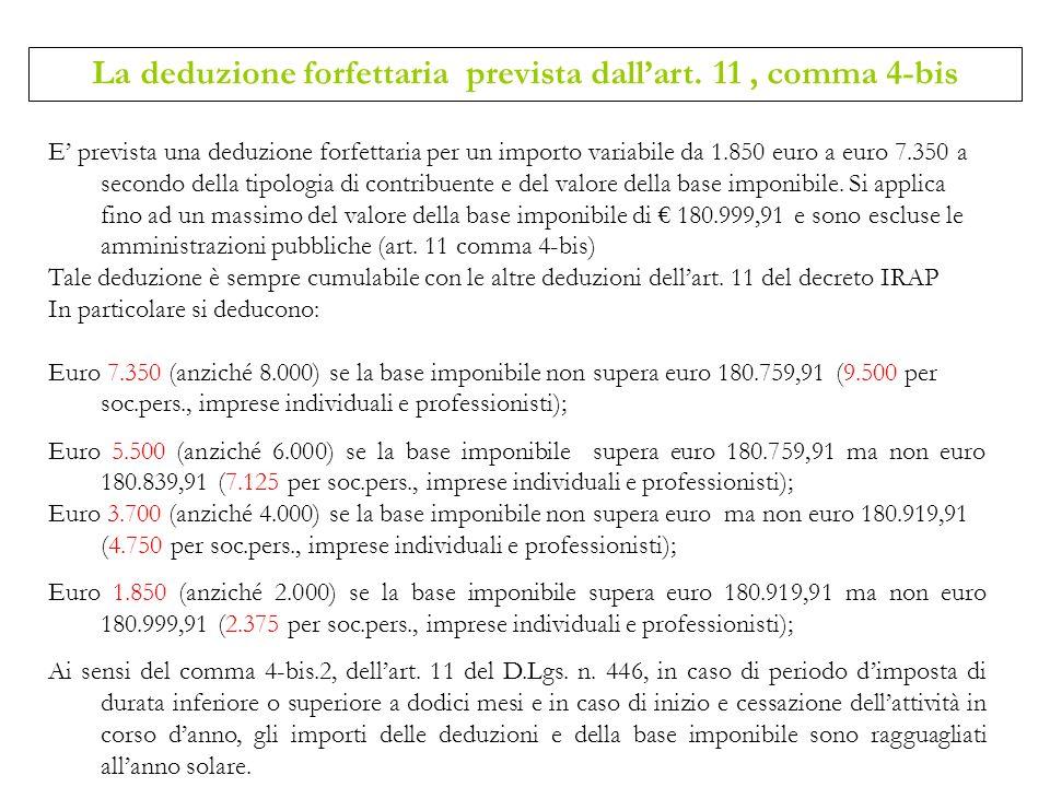 E prevista una deduzione forfettaria per un importo variabile da 1.850 euro a euro 7.350 a secondo della tipologia di contribuente e del valore della
