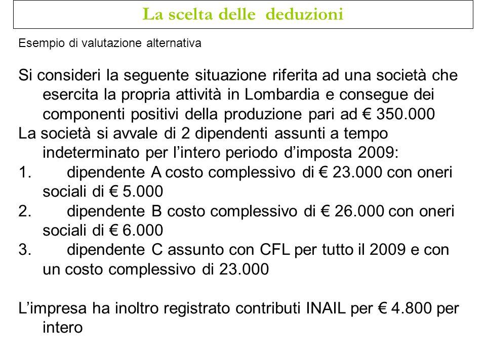 Esempio di valutazione alternativa Si consideri la seguente situazione riferita ad una società che esercita la propria attività in Lombardia e consegu