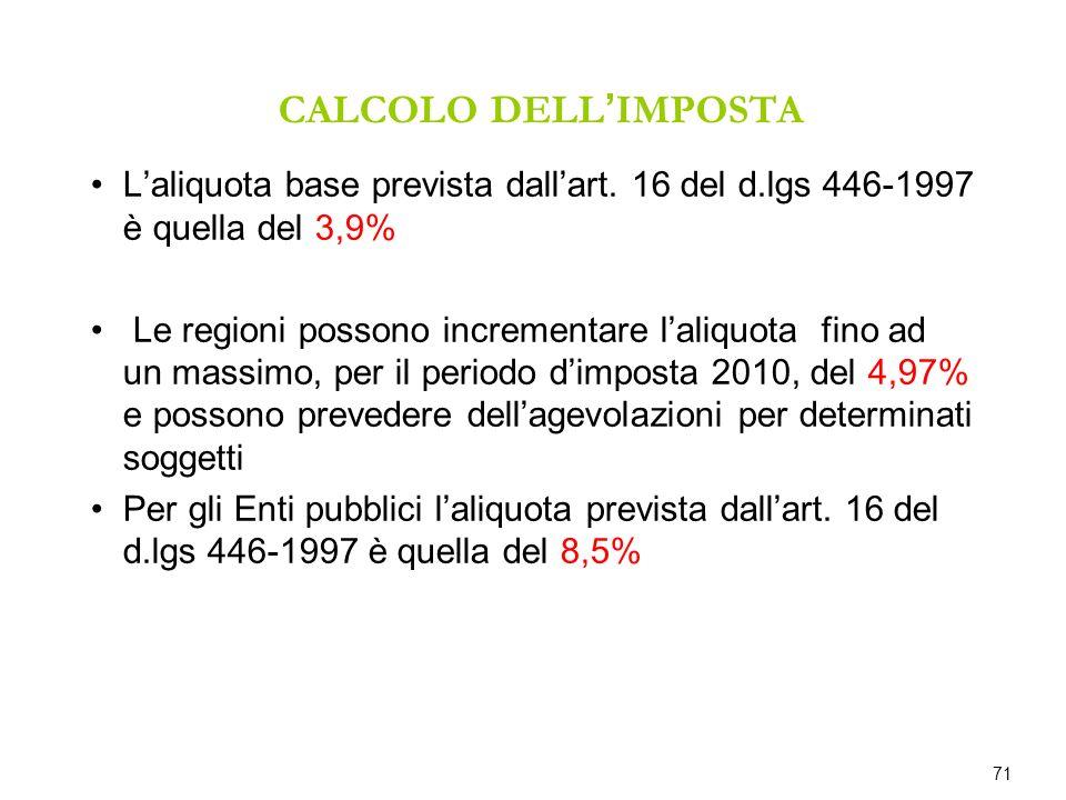 CALCOLO DELL IMPOSTA Laliquota base prevista dallart. 16 del d.lgs 446-1997 è quella del 3,9% Le regioni possono incrementare laliquota fino ad un mas
