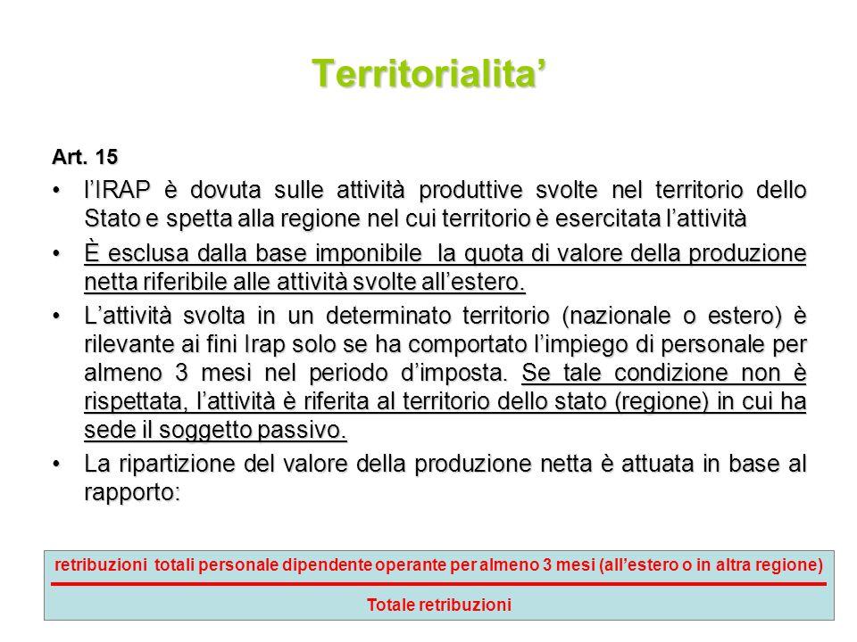 73 Territorialita Art. 15 lIRAP è dovuta sulle attività produttive svolte nel territorio dello Stato e spetta alla regione nel cui territorio è eserci