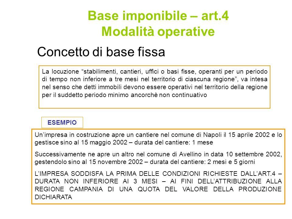 Concetto di base fissa Base imponibile – art.4 Modalità operative La locuzione stabilimenti, cantieri, uffici o basi fisse, operanti per un periodo di