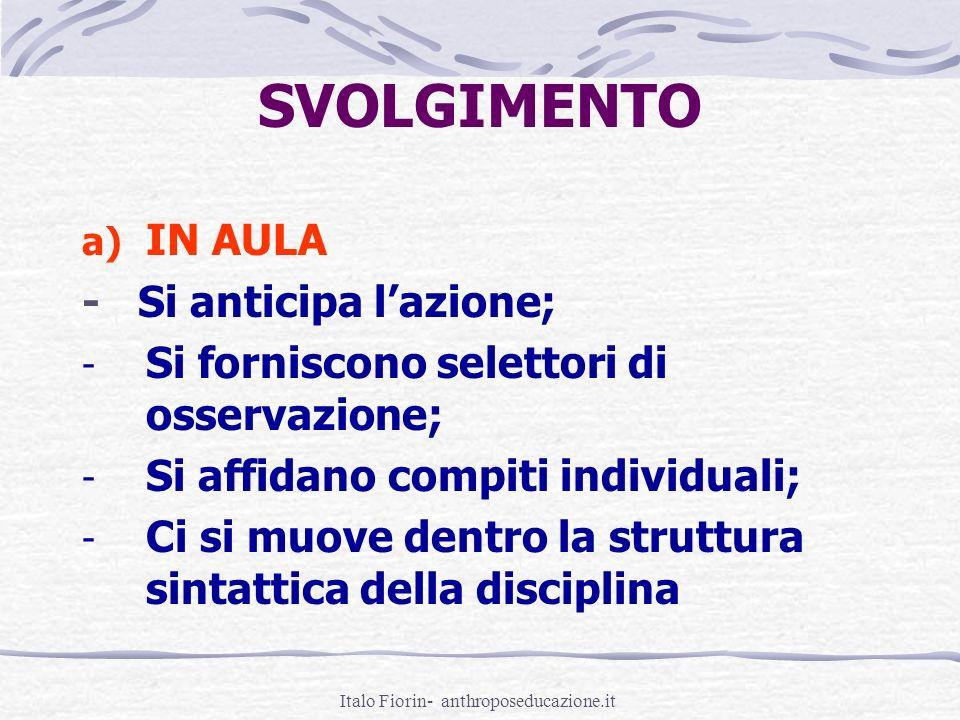 Italo Fiorin- anthroposeducazione.it SVOLGIMENTO a) IN AULA - Si anticipa lazione; - Si forniscono selettori di osservazione; - Si affidano compiti in