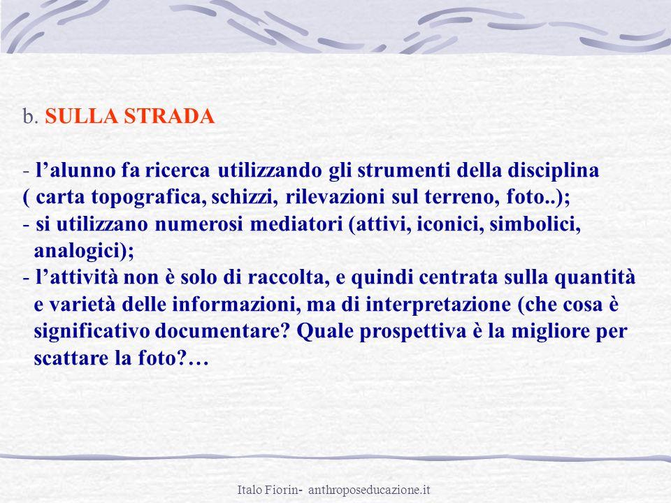 Italo Fiorin- anthroposeducazione.it b. SULLA STRADA - lalunno fa ricerca utilizzando gli strumenti della disciplina ( carta topografica, schizzi, ril
