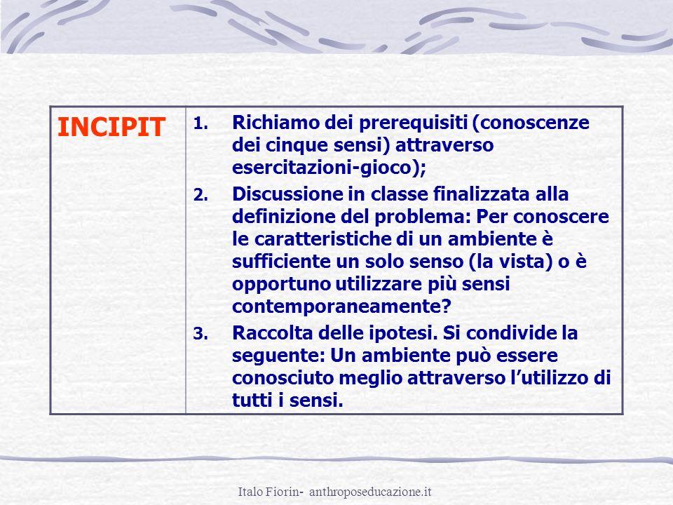 Italo Fiorin- anthroposeducazione.it INCIPIT 1. Richiamo dei prerequisiti (conoscenze dei cinque sensi) attraverso esercitazioni-gioco); 2. Discussion