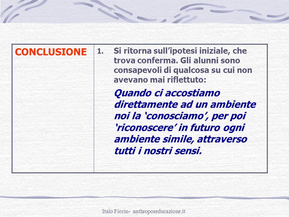 Italo Fiorin- anthroposeducazione.it CONCLUSIONE 1. Si ritorna sullipotesi iniziale, che trova conferma. Gli alunni sono consapevoli di qualcosa su cu