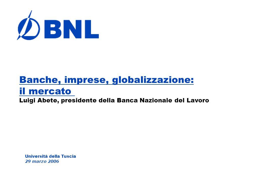 Università della Tuscia 29 marzo 2006 Banche, imprese, globalizzazione: il mercato Luigi Abete, presidente della Banca Nazionale del Lavoro