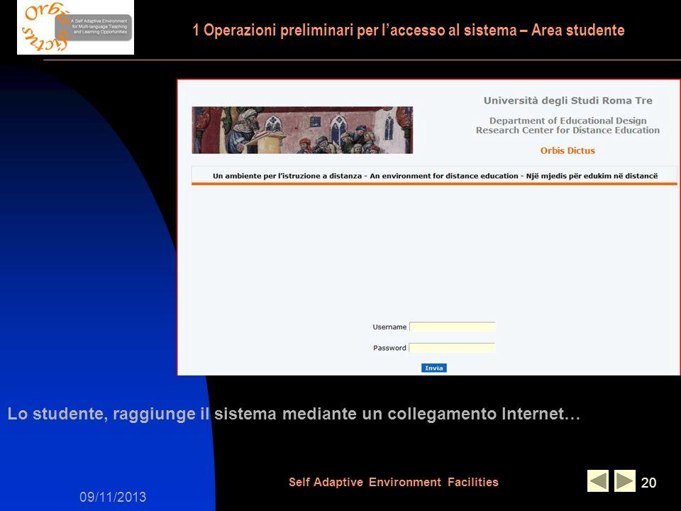 09/11/2013 Self Adaptive Environment Facilities 20 Lo studente, raggiunge il sistema mediante un collegamento Internet… 1 Operazioni preliminari per laccesso al sistema – Area studente