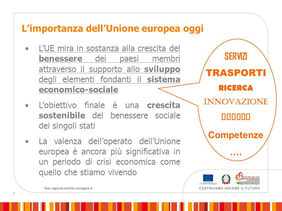 7 Limportanza dellUnione europea oggi LUE mira in sostanza alla crescita del benessere dei paesi membri attraverso il supporto allo sviluppo degli ele