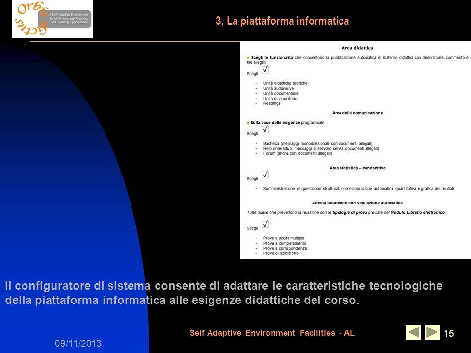 09/11/2013 Self Adaptive Environment Facilities - AL 15 Il configuratore di sistema consente di adattare le caratteristiche tecnologiche della piattaf