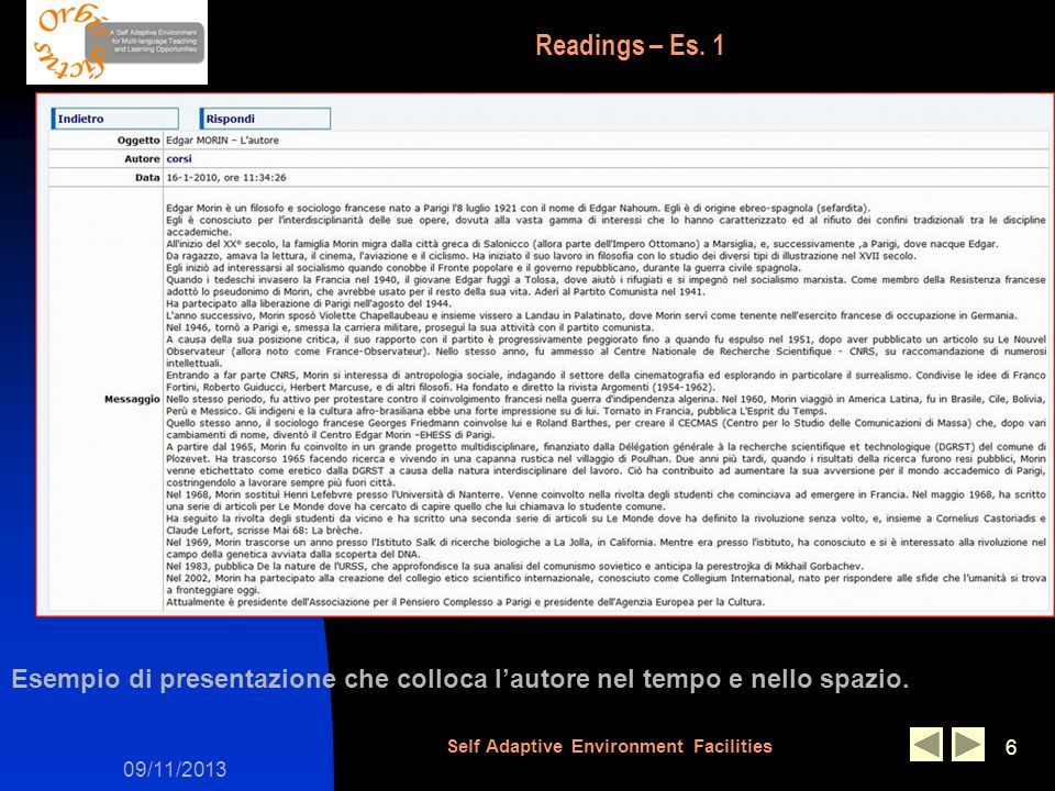 09/11/2013 Self Adaptive Environment Facilities 6 Readings – Es.