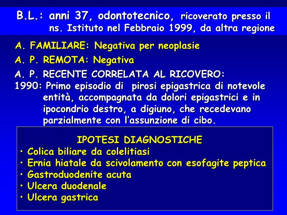 1991 - 1992: Benessere 1993: Ripresa della sintomatologia con pirosi e dolore epigastrico e retrosternale epigastrico e retrosternale E.G.D.S.: Assenza di ulcera peptica, ma E.G.D.S.: Assenza di ulcera peptica, ma presenza di esofagite di I grado e di gastrite presenza di esofagite di I grado e di gastrite ipersecretiva.