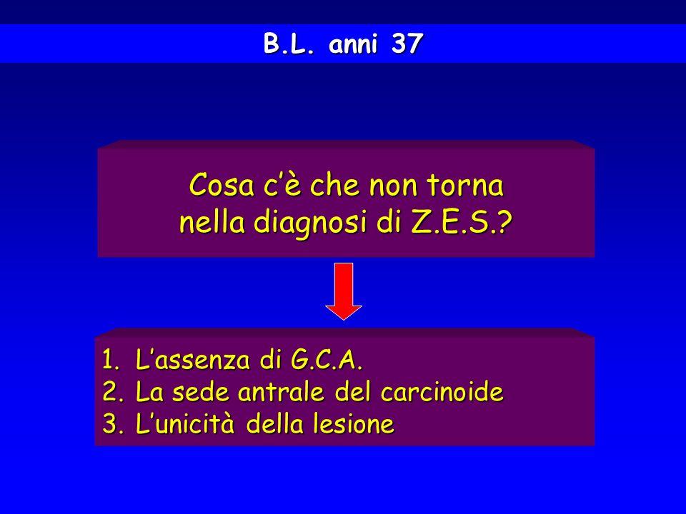 B.L. anni 37 1.Lassenza di G.C.A. 2.La sede antrale del carcinoide 3.Lunicità della lesione Cosa cè che non torna nella diagnosi di Z.E.S.?